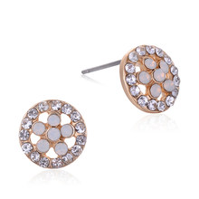 9e7675240e40 SUKI Japón Brincos Pequenos redondo lindo de oro aretes de oro pendientes  de Color CZ joyas de cristal para las niñas y las muje.