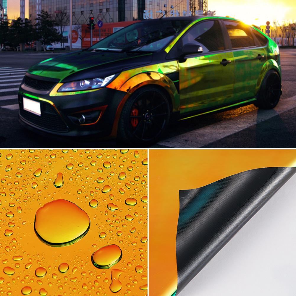 Image 2 - AuMoHall Holographic Rainbow Chrome Car Sticker Laser Plating Car Body Wrap Film DIY Car Styling-in Car Stickers from Automobiles & Motorcycles