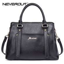 NeverOut Real Leather Brand Bag Woman Handbags Solid Style Business Shoulder Sac Ladies Top-Handle Bags Lady Casual Tote Handbag