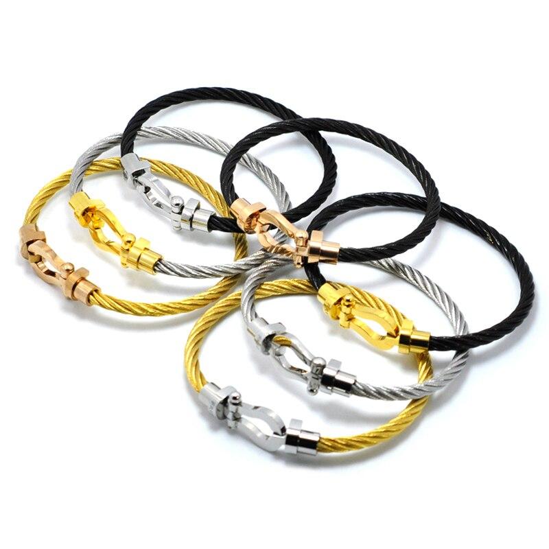 J.hang ke designer stainless steel jewelry brand Bracelets bangles Magnet Buckle Cable Wire Men Women U Bracelet bijoux homme