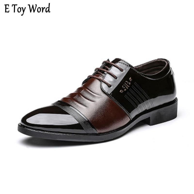 2b3de53812 Brand Patent Leather Shoes Men Oxfords Men s Flats Formal Shoes Classic  Business Dress Shoes Men s Oxford Flats Big Size 38-44