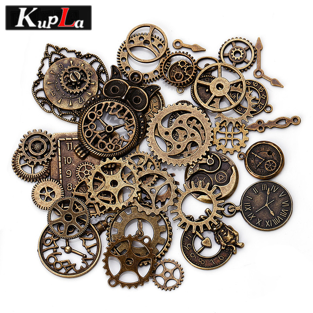 Vintage Metal Steampunk Charms Diy Fashion Accessories Clock Gear Pendant For Jewelry Making 40