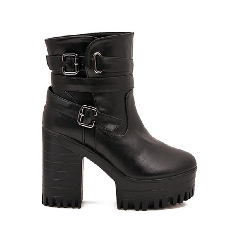 ФОТО Hot! 2017 High Heels Black Women Boots Ankle Spring Autumn Ladies Short Shoes Woman Bottes Femme Chaussure Botas Mujer Femininas