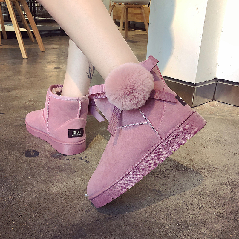 Nuevas Plana Mujeres Terciopelo Botas Caliente Versión Invierno Coreana Salvaje Nieve La De Algodón Las gris 2018 Moda Zapatos Negro rosado I7ZIc6tqPA