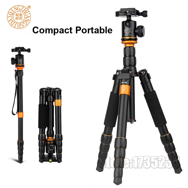 New QZSD Q278 Lightweight Compact Tripod Monopod & Professional Ball Head for Canon Nikon DSLR Camera / Portable Camera Stand 2015 new upgrade q999s professional photography portable aluminum ball head tripod to monopod for canon nikon sony dslr camera