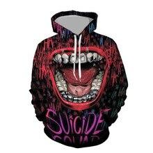 3D Print  Suicide Squad Harley Quinn Joker Sweatshirts Hoodie Movie Cosplay Costume Coats Men Women New Top