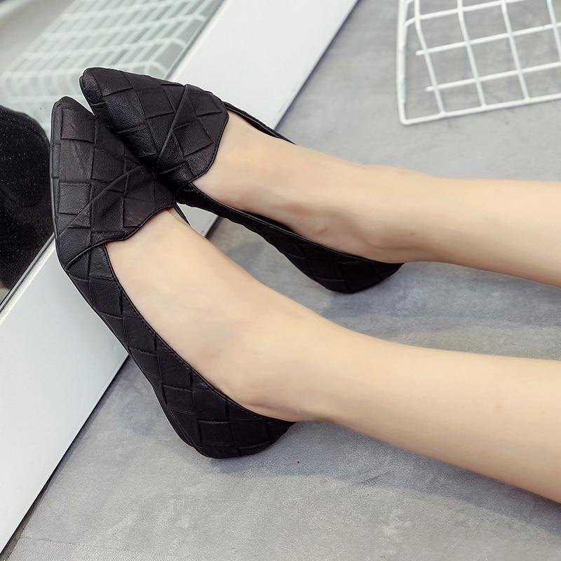 Simple Coréenne Noir Nouvelle La Travail Pointu gris Sauvage Peu Bouche Version Chaussures De Plat Femmes Casual Profonde Noires 5waax7Aq