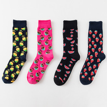 4 Pair/lot Funny Happy Socks Marvel Retro Personality Painted Long Men Street Style Cotton Crew Gifts for