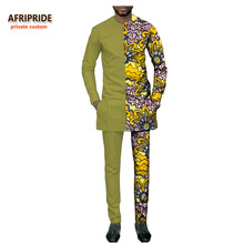african casual suit for men AFRIPRIDE private custom full sleeve o-neck top+ankle-length pant slim men's autumn suit A731604