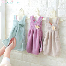 Cute Dress With Thick Coralline Velvet Towel Absorbent Hanging Kitchen Ladies Hankies Handkerchief Coral Skirt