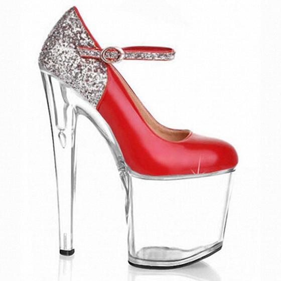 Hot Women The bride shoes 20cm clear wedding sexy heels silver glitter heels Fashion women pumps gold sexy clubbing high heels