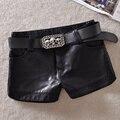 Новый зимний pu кожаные шорты женщин тощий mid талии шорты модные женские кожаные шорты плюс размер черный mujer MZ1350