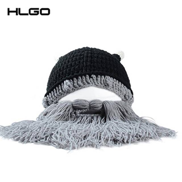 La moda de Punto Sombrero Divertido de Ganchillo Hecho A Mano de Dibujos Animados Cuerno Vikingo Sombrero Barbudo Rostro Máscara Sombrero cuerno de Punto para Mujeres y Hombre