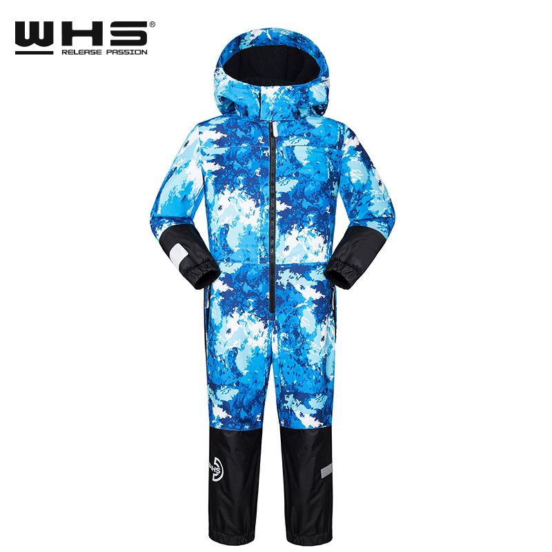 WHS Boys And Girls Sports Outdoor Ski Suit Conjoined Suit For Child  Windproof Coat  Winter 4 To 12 Years Old