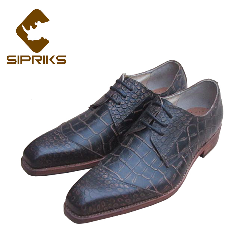 Sipriks Mens Goodyear Welted Shoes Genuine Leather Vintage Crocodile Shoes European Mens Dress Shoes Formal Evening
