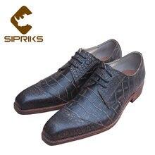 d42a536d Sipriks hombres Goodyear Welted zapatos de cuero genuino del cocodrilo de  la vendimia europea para hombre vestido Formal zapatos