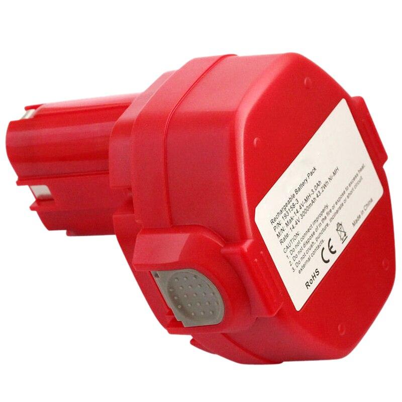 Meilleures Offres 14.4 v 3.0Ah NiMH Batterie pour Makita 6281D 6333D 6336D 6337D 6339D Rouge