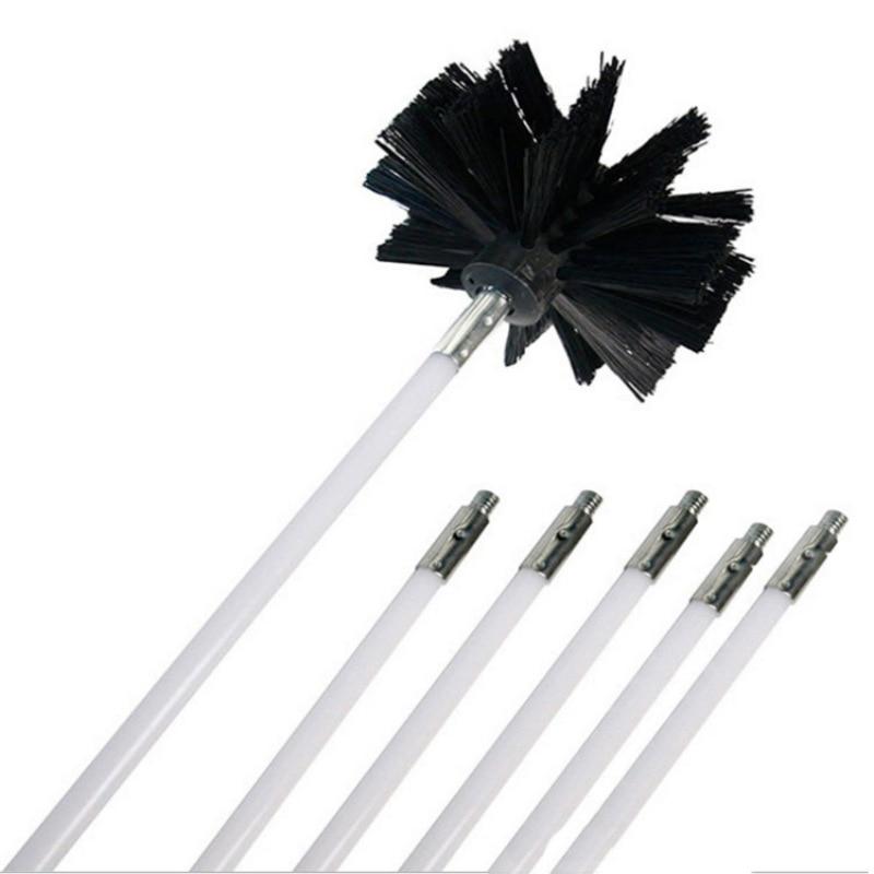 Нейлоновая Щетка с 6 шт. ложки с длинной ручкой, гибкая труба из ПВХ, стержни для дымохода чайник дом очиститель, инструмент для очистки комплект Z