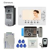 Бесплатная доставка 7 Цвет видео домофон видеодомофон комплект + 1 RFID доступ дверной звонок Камера + 1 монитор + Электрический Управление зам