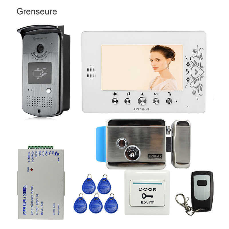 Free Shipping Home 7 Color Video Door Phone Intercom Kit + 1 RFID Access Camera + 1 Monitor + Electric Control Lock Wholesale digital electric best rfid hotel electronic door lock for flat apartment
