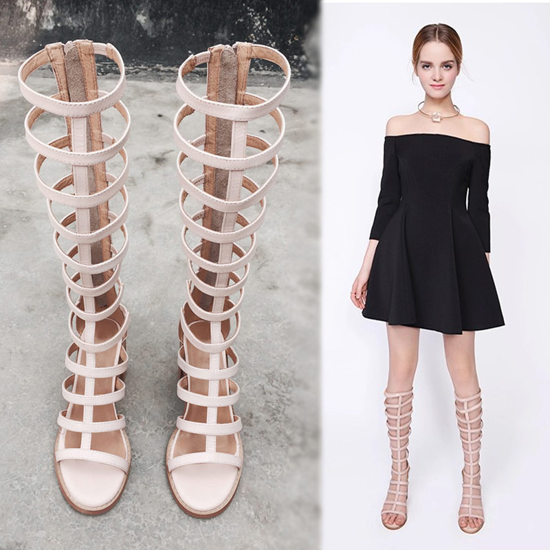 Summer Style 2016 Women Boots Knee High Sandals Chunky High Heels Narrow Band Cut Outs Gladiator Sandals Boots Zapatos Mujer back zipper tassel sandals 2017 summer style cut outs gladiator booties black leather stiletto high heels platform short boots