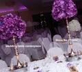 Comercio al por mayor tamaño pequeño) bola de la flor de la boda plomo carretera boda holder soporte de metal altas T etapa decoración central de la boda