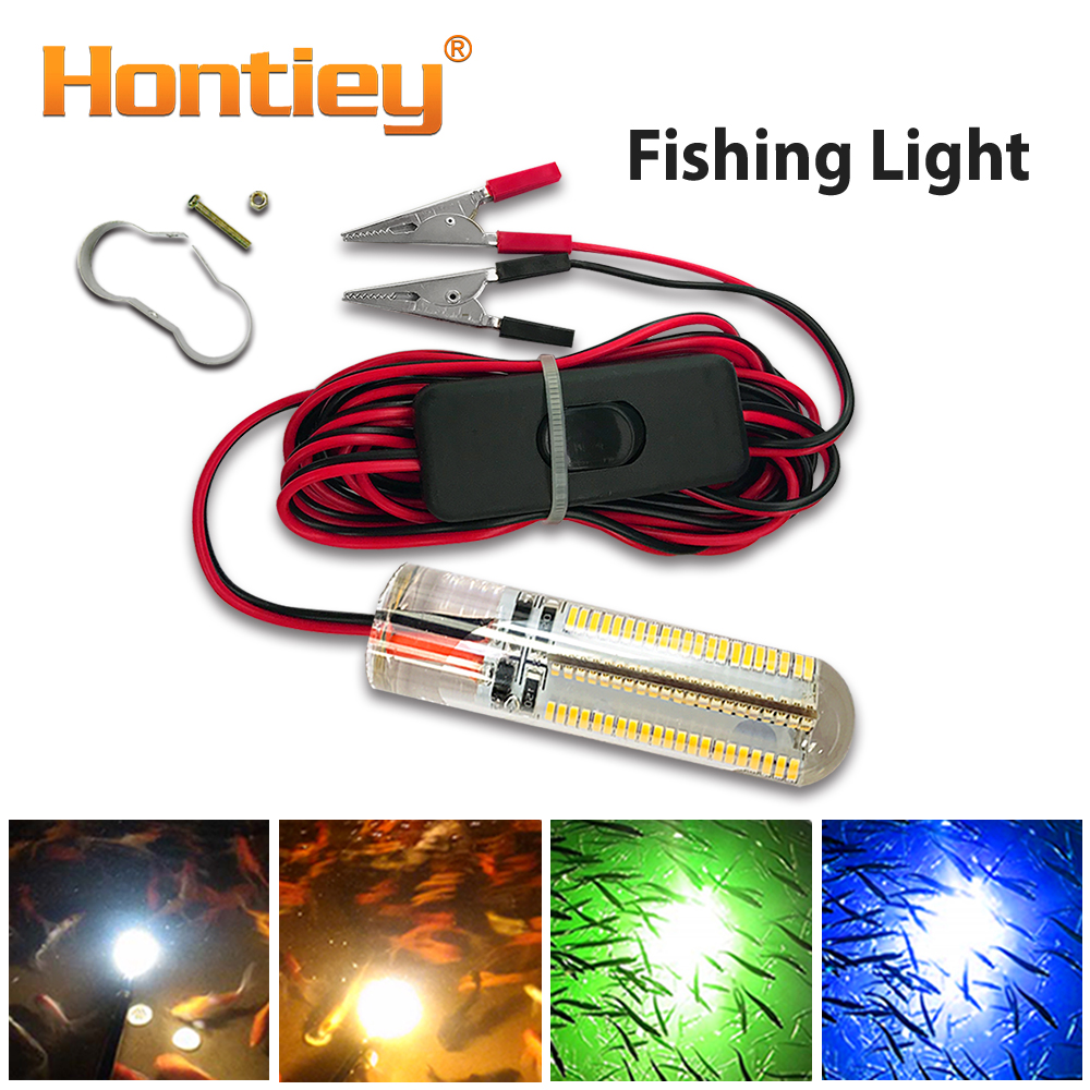 Hontiey LED Underwater Fishing Light DC 12V Blue Green Warm White Color Attract Fish Prawns Squid Krill For Boat Pier Night Lake