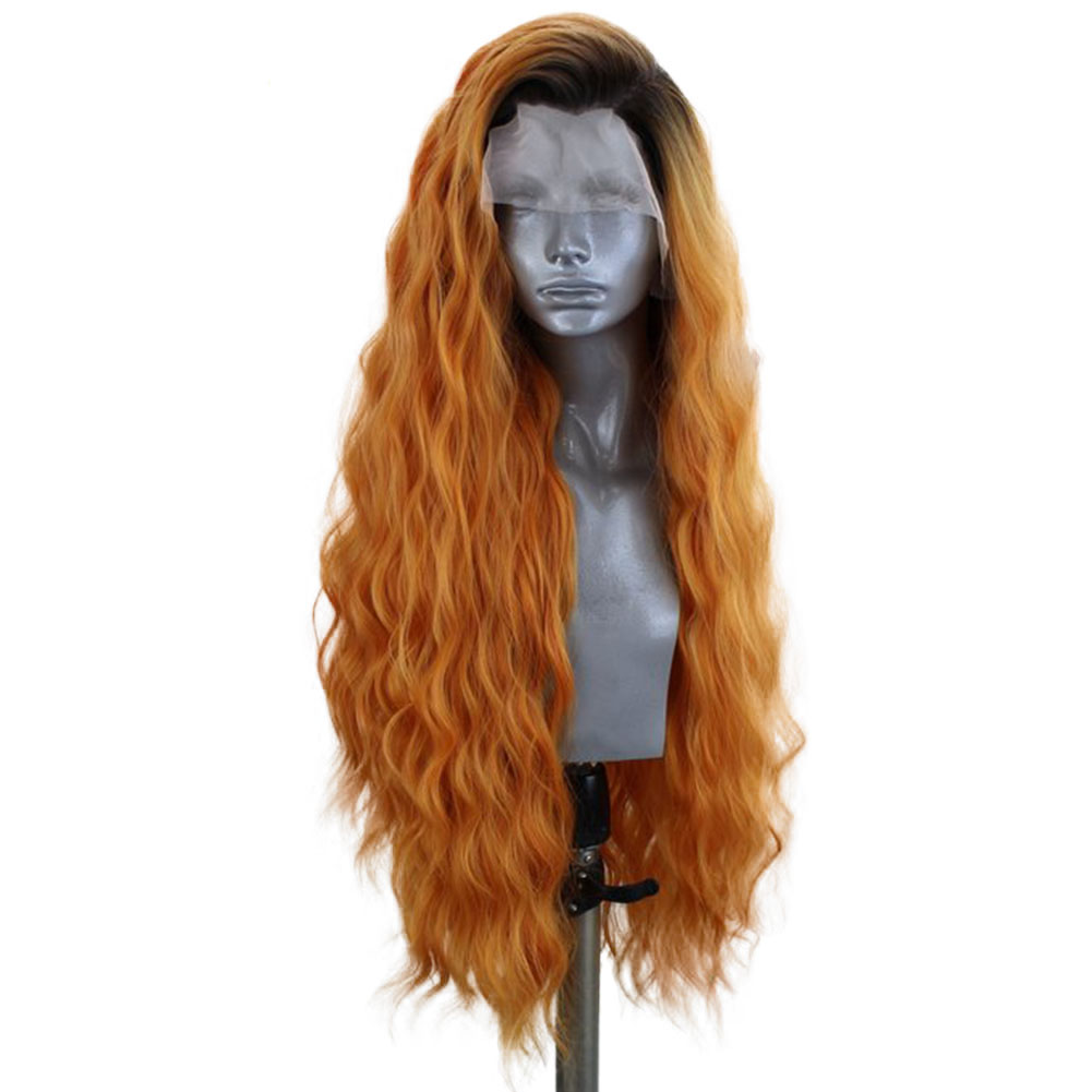 RONGDUOYI 150% Density Two Tone Color Wavy Hair Side Part Synthetic Lace Wigs Long Ombre Orange Lace Front Wigs For Women