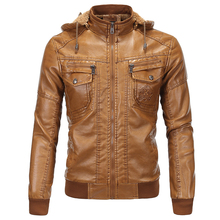 2017 Designer Hooded Motorcycle Leather Jackets European and American Style Plus Size 5XL Mens Velvet Winter Leather Coats C124