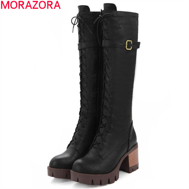 MORAZORA Motorcycle boots women platform fashion punk knee high long boots high heels zipper solid buckle PU soft leather boots