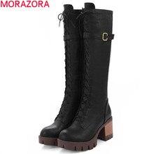 MORAZORA دراجة نارية أحذية النساء منصة الموضة فاسق الركبة أحذية عالية طويلة عالية الكعب سستة الصلبة مشبك بولي soft أحذية جلدية لينة