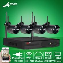 Новых Листинговых Подключи И Играй 4CH Беспроводной Системы Безопасности NVR Комплект P2P 720 P HD Открытый ИК Ночного Видения ВИДЕОНАБЛЮДЕНИЯ Ip-камера Системы 1 ТБ HDD