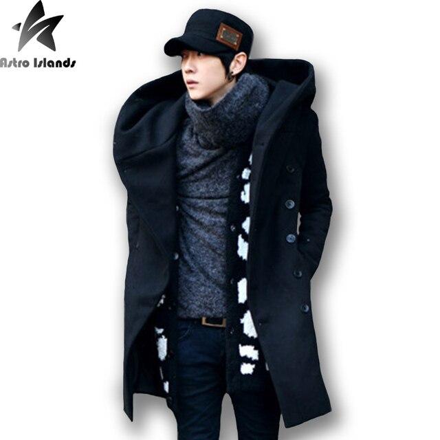 Autumn Winter Men's Wear Cotton Cap Medium Long Slim Woollen Overcoat Metrosexual Thickening Hooded Windbreaker Loose Coat MT25