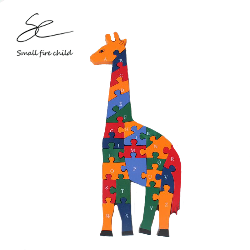 2017 New intelligence toys 26 alphanumeric cognition puzzle enlightenment wooden baby puzzle piece cute giraffe jigsaw puzzle
