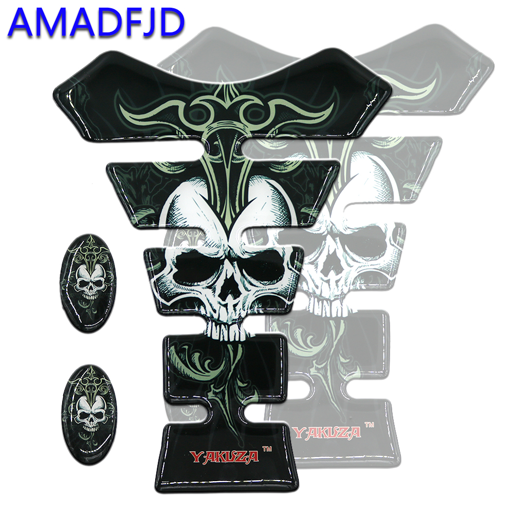 AMADFJD 3D Skull Logo Tank Pad Sticker On Motorcycle Tank Sticker Motorcycle Decals Deposit Protector Motorbike Accessories