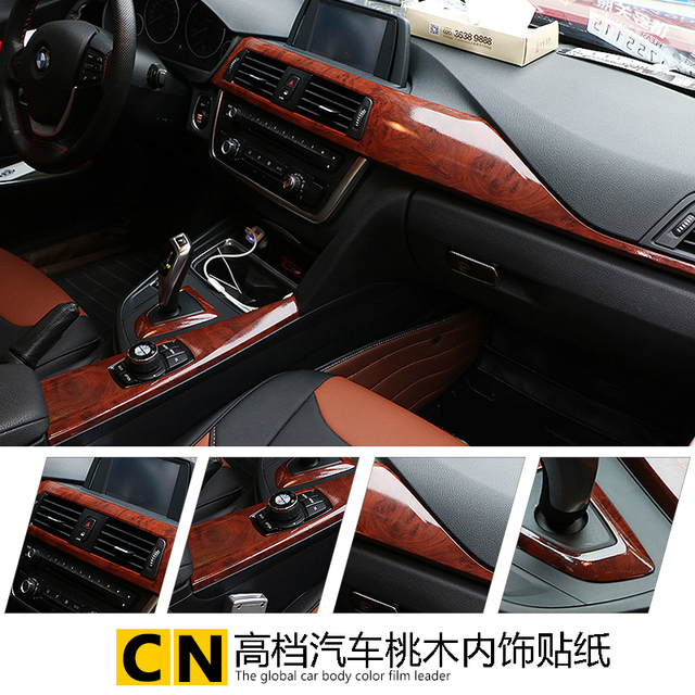 car styling 30 100cm matte peach wood interior decorative car sticker dashboard controls the. Black Bedroom Furniture Sets. Home Design Ideas