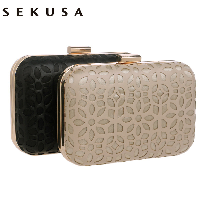 SEKUSA Fashion Hollow Out Style Pu Evening Bags With Chain Shoulder Day Clutches Evening Bags Black/Gold Purse Wallets sekusa flower rhinestones women handbags red black purple gold chain shoulder bags metal day clutches purse wedding wallets