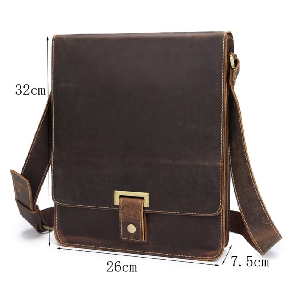 Men's genuine leather messenger bag A4 Hard crazy horse leather shoulder bag  Vintage briefcase Vertical iPad casual bag