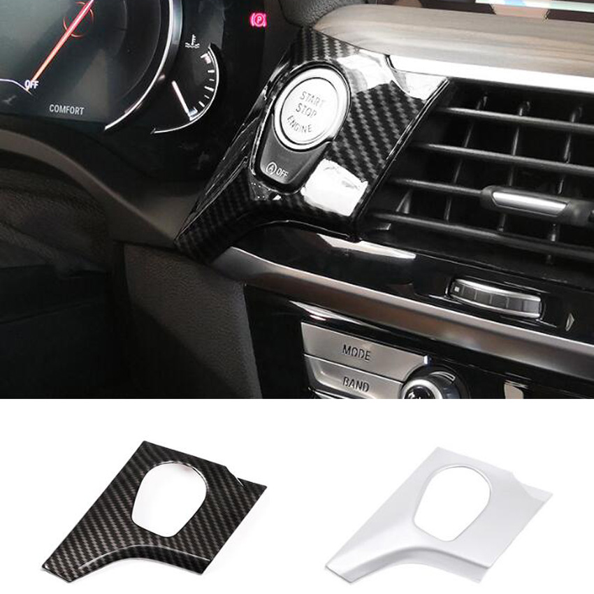 Engine Stop Switch Button Cover Car Interior Console Engine Start Push Button Switch Cover Trim Stop Auto Decoration Sticker for BMW Series Car