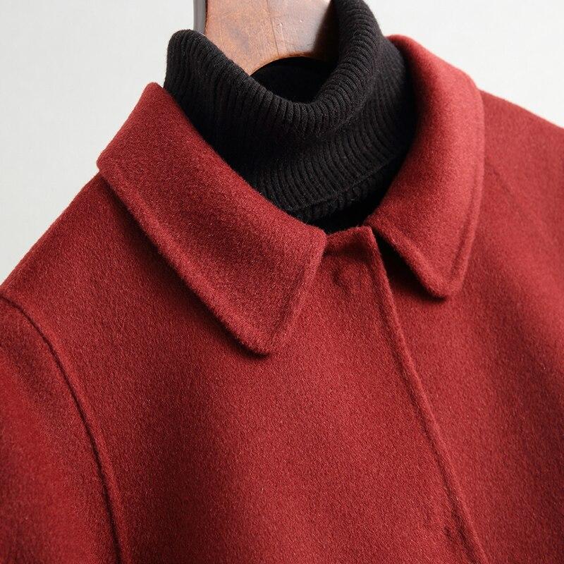 KMETRAM 100% Wolle Herbst Warme Weibliche Mantel Damen Lose Lange Jacke Rot Vintage Casual Frühling Mantel Casaco Feminino MY136 - 5