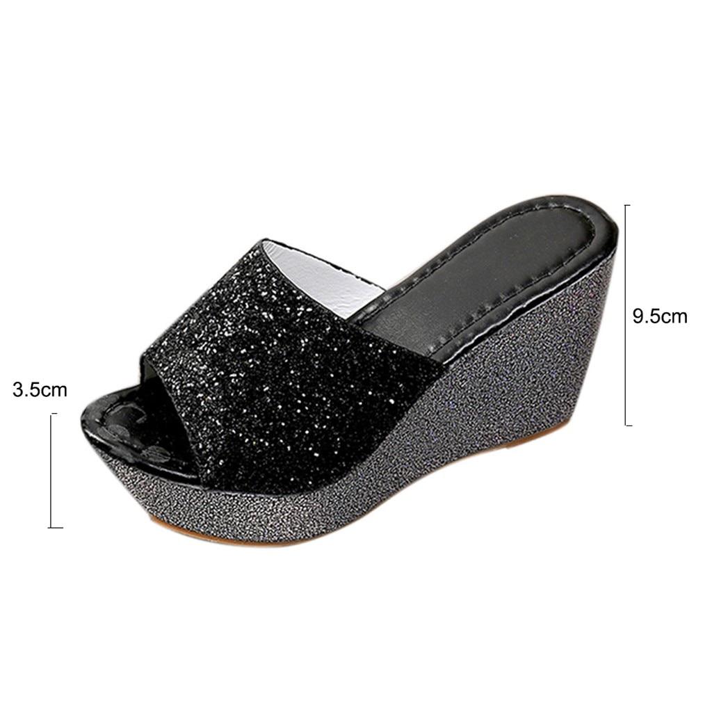 Bout Hauts Bouche Sexy argent Chaussures Sport or Mode Sandales Pantoufles À Bling Talons Flop Noir Femmes Flip Cales De Rond Poissons 8wtqZzw