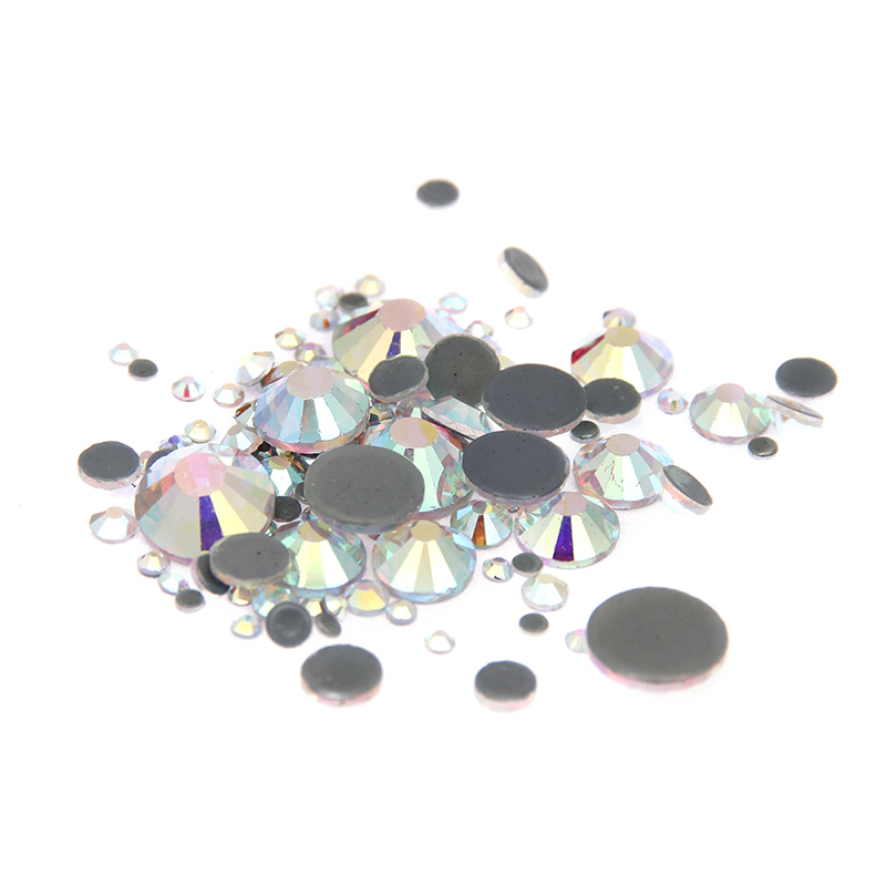 2016 New Strass Glass Crystal AB Rhinestones Hotfix ss4-ss30 Mixed Flatback Round For 3D Nails DIY Design Stickers Decorations gitter 2 6mm citrine ab color resin rhinestones 14 facets round flatback non hotfix beads for 3d nail art decorations diy design