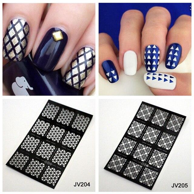 12 stckblatt diamant karo muster nagel schablonen nail art vinyl wiederverwendbare schablone template - Nailart Muster