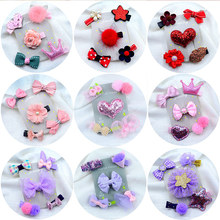 5PC/Set cute cartoon hairpin set stylish shiny sequins glitter hair clip barrettes Infant girls bow tiara knot accessories