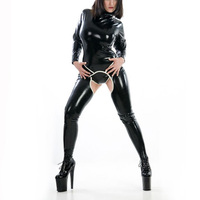 Glir's Latex Catsuit With Socks Latex Suit +Latex Briefs For Ladies Sexy Latex Bodysuit Crotchless Back Zip