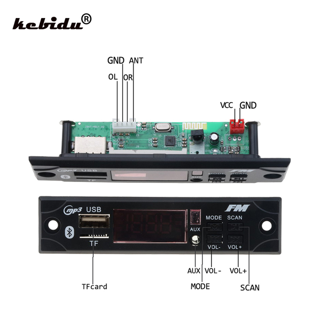 Kebidu سماعة لاسلكية تعمل بالبلوتوث محلل شفرة سمعي لوحة تركيبية سيارة مشغل MP3 WMA WAV AUX 3.5 مللي متر 12 فولت USB TF FM فك مجلس للسيارة