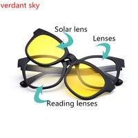 2018 1 шт. очки для чтения + 3 пары магнитные солнцезащитные очки для женщин и мужчин Мода миопия, Гиперметропия ночного видения очки для чтения