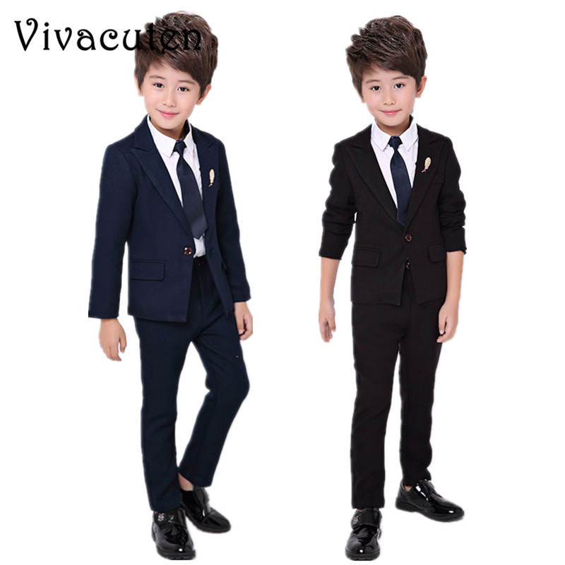 Flower Boys Formal Blazer Suit Wedding Kids Blazer Pants 2pcs Clothing Set Children Prom Costume Dress Groom Clothing Set F009 pyjtrl tide men chinese style red gold dragon design casual suit jacket plus size singer costume wedding groom prom party blazer