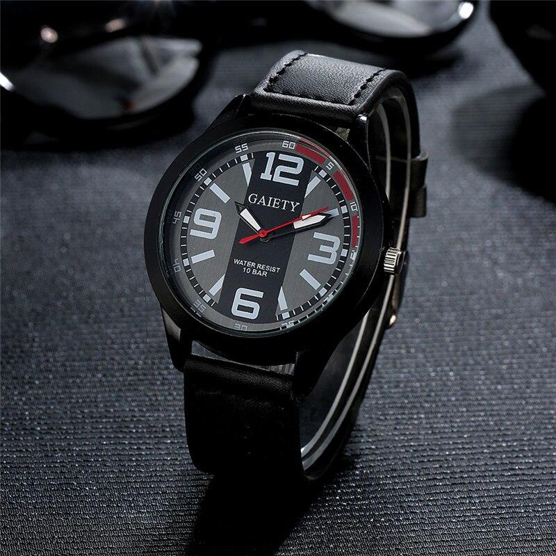 2017 Watch Man Quartz Wristwatches Luminous Military black leather Watchband Waterproof Sports Watches For Men Relogio Masculino