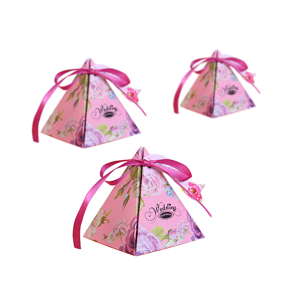 50 Pcs Pyramid Floarl Candy Box Wedding Favor Boxes Chocolate ...